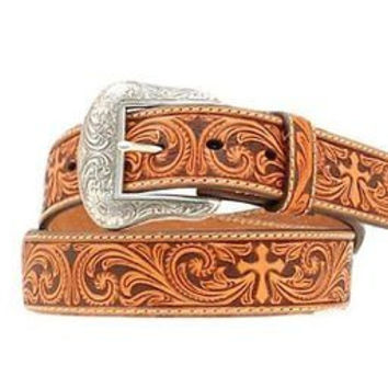 Nocona Men's Western Leather Embossed Cross Belt-Tan