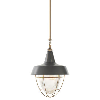 Henry Industrial Hanging Light, Brass, Pendants