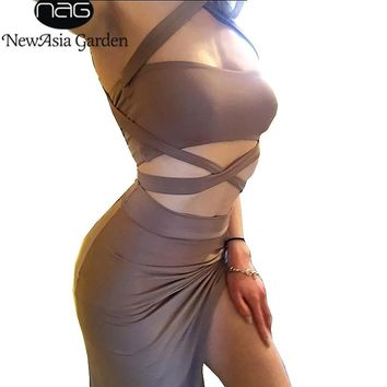 NewAsia Halter Backless Summer Dress Women Wrap Dress Midi Evening Party Dress Sexy Club Wear Two-Piece Sets Ladies Dresses Long