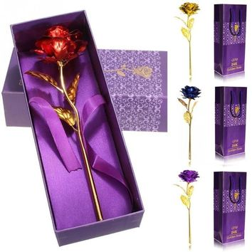 24K Gold Plated Rose Flower For Valentine's Day Gift Romantic Day Wedding Decor