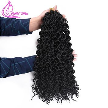 Refined Hair 18Inch 24Roots Curly Faux Locs Crochet Braids Synthetic Deep Soft Wavy Faux Locs Crochet Braiding Hair Extensions