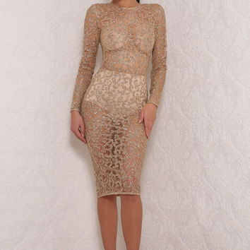 Abyss by Abby RUSSIA Gold Glitter Lace Bodycon Dress
