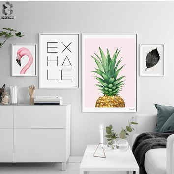 Nordic Flamingo Minimalist Canvas Art Print Poster, Quotes Wall Paintings for Living Room Decor Pineapple Home Decoration