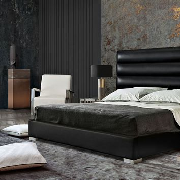 Bardot Channel Tufted Queen Bed in Black Leatherette