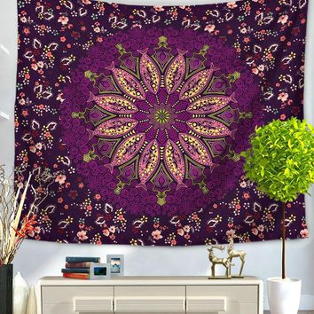 Purple Flower Burst Mandala  Boho Wall Tapestry