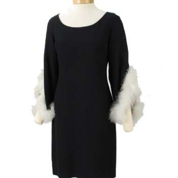 60s Mod Marabou Trim Black Crepe Cocktail Dress-1960s Vintage Clothing-Mad Men Style Dress