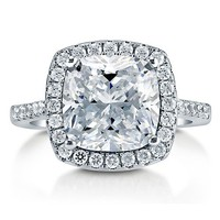 Cushion Cut Cubic Zirconia Sterling Silver Halo Cocktail Ring 3.87 Ct #r748