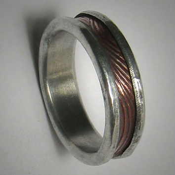 Rustic wedding band for men or women - custom handmade mixed metal men's engagement ring - rugged copper and silver wedding band