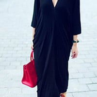 Blue V-Neck 3/4 Sleeve Maxi Dress