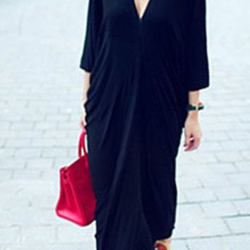 Black Plunging Neckline Ruched Maxi Dress