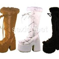 Demonia Suede-Rabbit Fur Trimmed Knee Boots Camel-311