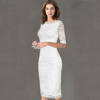 Womens Elegant Floral Lace Casual Dress Party Evening Bodycon Vestidos Bridemaid Mother of Bride Dress 218