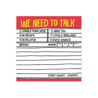 KNOCK KNOCK HAND-LETTERED WE NEED TO TALK STICKY PAD