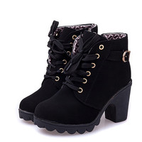 Solid Lace-up Boots