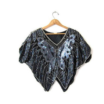 Vintage Sequins Butterfly Top. Beaded Black Cropped Blouse. 80s iridescent Sequins Tank Top. 70s Disco Glam