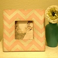Chevron Stripe Picture Frame in pale pink and white