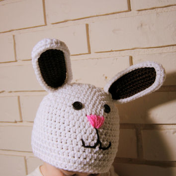 Crochet Bunny Rabbit Hat, Baby Boy Farm Animal Hat, Rabbit Knit Hat, Newborn Photo Prop, White Rabbit, Infant, Toddler, Boys, Girls, Kids