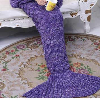 Purple Soft Comfortable Knitted Mermaid Sofa Blanket