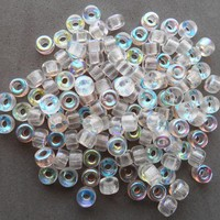 Fifty 6mm Czech Crystal AB glass pony roller beads, large hole crow beads, C9650