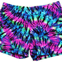 Volleyball Spandex Shorts - Neon Tie-Dye