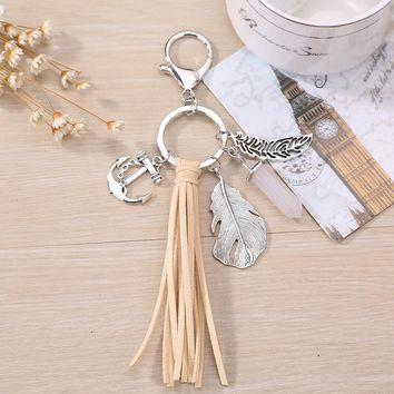 Fashion Faux Leather Tassel Circle Ring Leaves Pendant Charm  Car Key Chain
