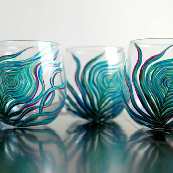 Peacock Stemless Wine Glasses--Set of 4 Hand-Painted Glasses