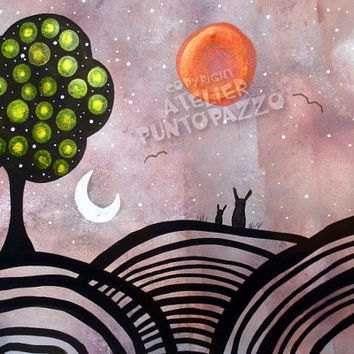 Original landscape drawing,romantic artwork on paper-whimsical wall art,pet lovers gift,Acrylic paint & watercolors,sunset,moon art,folk art