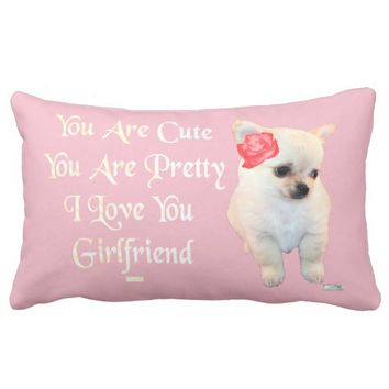 Girlfriend Just Because Love Greeting by Kat Worth Lumbar Pillow