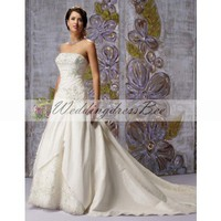 Strapless A-ling wedding dress