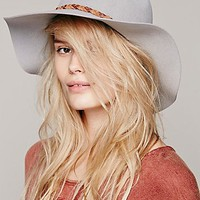 Free People Womens Floppy Fedora Hat - Silver Sand, One