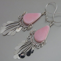 Pink Stone & Metal Earrings w/  Rose Quartz Gemstone