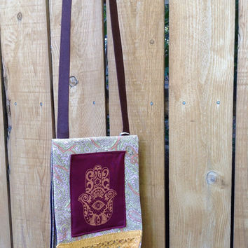 Cross Body Bag with Shoulder Strap Lightweight Envelope Style with Hamsa and Paisley Orange and Pink