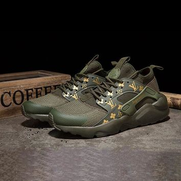 LV x Supreme x Nike Air Huarache Custom Army Green Sport Running Shoes