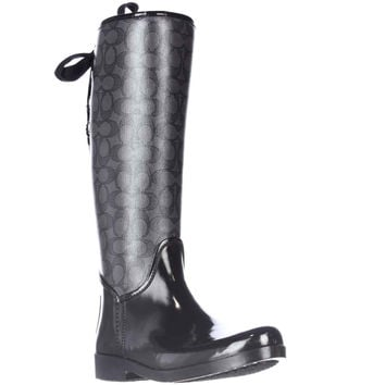 Coach Tristee Back Lace-Up Rainboots - Black Smoke/Black