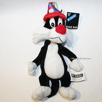 Licensed cool Sylvester the Cat Birthday Hat Bean Bag Warner Bros Looney Tunes Plush Toy NWT