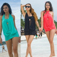 Sexy Women One Piece Halter Draped Convertible Blouson Monokini Swim Dress Beach Wear Swimwear Swimsuit Bathing suit = 1958507716