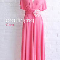 Bridesmaid Dress Infinity Dress Coral Floor Length Wrap Convertible Dress Wedding Dress