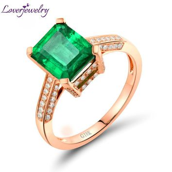 Amazing 18kt Rose Gold Natural Diamond 2.1Ct Emerald Engagement Ring with Dimmond Genuine Gem Fine Jewelry for Women Gift SR0024