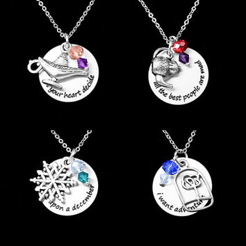 Charcaters Necklaces with quotes Aladin Mad Hatter Anastasia Beauty and the Beast