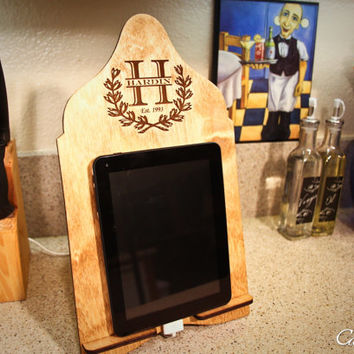 Personalized Wood Family Tablet Stand Docking Station Kindle Nook Stand & iPad Stand