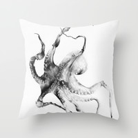 Octopus Throw Pillow by Alexis Marcou