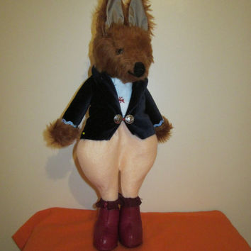 Beau Fox-Retro Collectable-Chestnut PlushToy-Dressed-Royal Blue Velvet Coat-Apricot Trousers-Black Leather Boots-Xmas-Birthday-Easter-Unisex