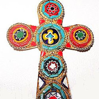 Micro Mosaic Cross Pendant Glass Tiles Blue Red Color Gold Metal Chain 16 in Vintage Italian