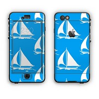 The Blue Vector Sailboats Apple iPhone 6 Plus LifeProof Nuud Case Skin Set