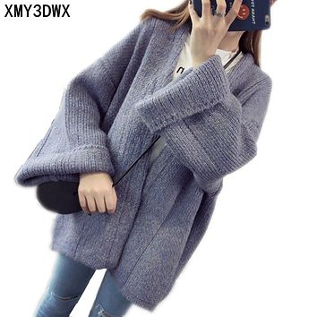 New women autumn winter fashion Long Design thick loose long sleeved knit cardigan sweater lady Warm cardigan Coats Clothes