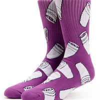 40s and Shorties Double Cups Purple Crew Socks