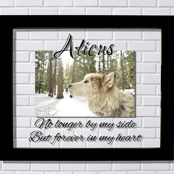 Pet Memorial Floating Picture Frame - No longer by my side But forever in my heart - Personalized Custom Name Dog Cat Bird Animal