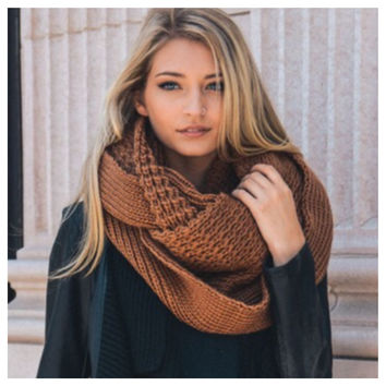 """I'm Never Cold"" XL Thick Chunky Knit Camel Brown Infinity Scarf"