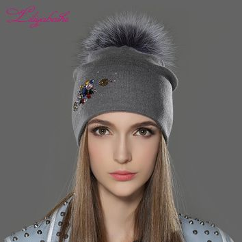 LILIYABAIHE Women Winter Hat wool Knitted Beanies Cap Real Raccoon Fur Pom Pom Hats Classic color diamond decoration decoration