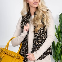 Leopard Print Quilted Vest
